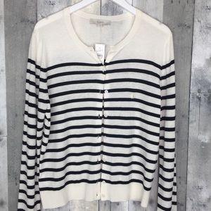 LOFT Black White Striped Cardigan Size Large